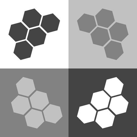 Vector image of honeycomb. Vector icon on white-grey-black color Ilustração