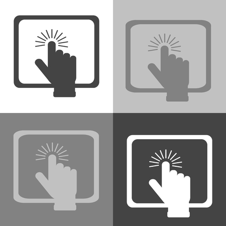 The hand clicks on the button on Tablet PC. Vector icon laptop on white-grey-black color