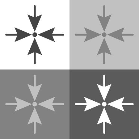 方向を 4 辺の 1 点に向ける矢印。白灰色と黒色のベクトルセットアイコン