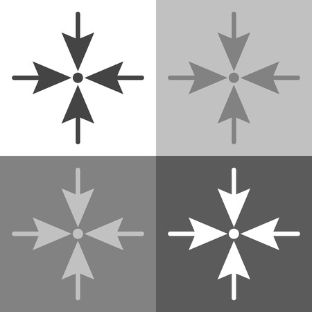 4면에서 한 점의 방향을 가리키는 화살표. 흰색 - 회색 - 검정색 색상의 벡터 아이콘 설정