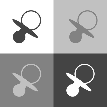 Vector set image of baby pacifier.  White pacifier vector icon on white-grey-black color Stock Photo