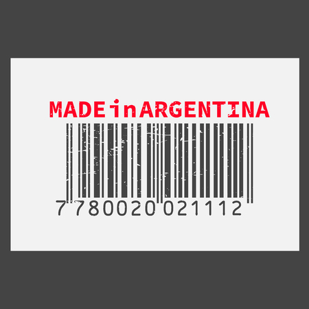 Vector realistic barcode Made in Argentina on dark background. Illustration