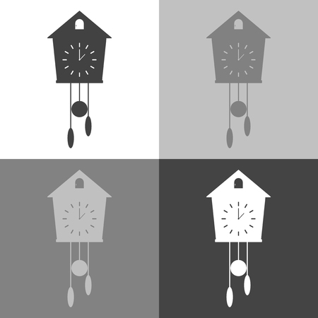 Vector icon of black clock with cuckoo on white-grey-black color. Home Appliances Illustration