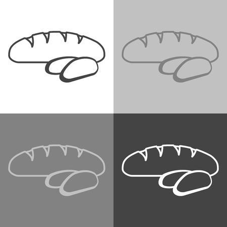 Bread vectorset  icon. Loaf is cut into pieces.  Vector icon on white-grey-black color