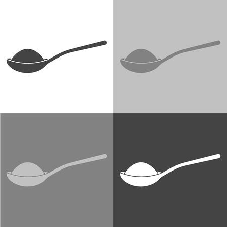 Vector icon of a spoon with sugar or salt. Vector icon on white-grey-black color Stock fotó - 95371755