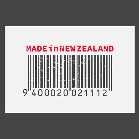 Vector realistic barcode  Made in New Zealand on dark background.