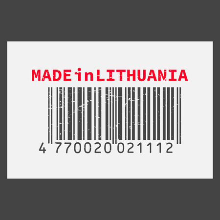 Vector realistic barcode Made in Lithuania on dark background. Illustration