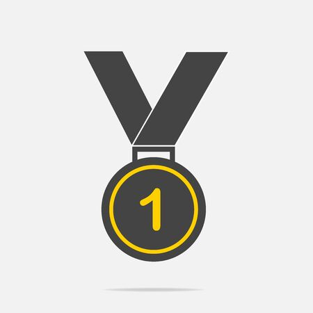 First place medal with black ribbon on gray background