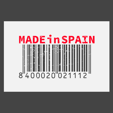 Vector realistic barcode  Made in Spain on dark background.