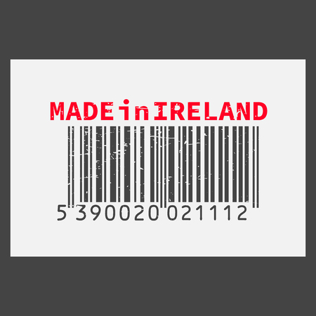 Vector realistic barcode Made in Ireland on dark background. Illustration