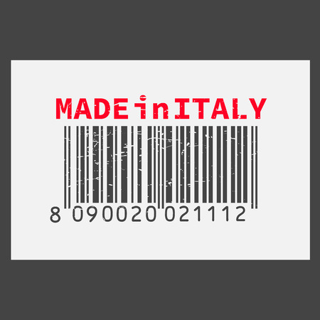 Vector realistic barcode  Made in Italy on dark background.