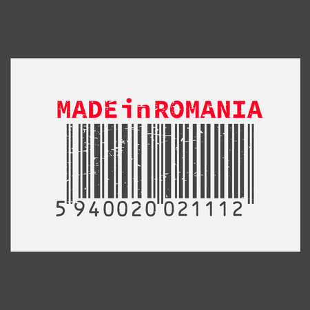 Vector realistic bar code Made in Romania on dark background. Ilustracja