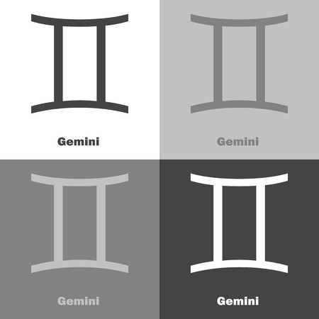 Gemini zodiac set sign. Astrological symbol. Vector icon on white-gray-black color