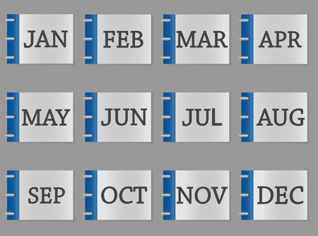 Calendar month set icon on gray and blue color Vectores