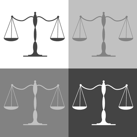 Balance scale icon. Vector scales set  on white-grey-black color