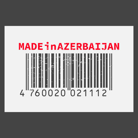 Vector realistic bar code Made in Azerbaijan on dark background.