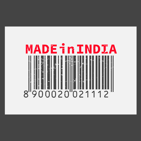 Vector realistic barcode  Made in India on dark background.