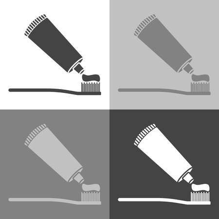 Vector set image of toothbrush and open toothpaste. Vector icon on white-grey-black color