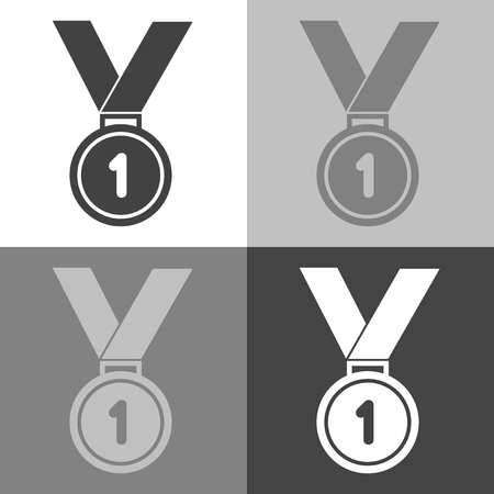 First place medal on white-gray-black color background Vettoriali