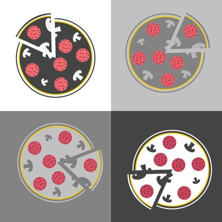 Vector image set of pizza. Fast Food. Pizzas slice. Vector icon on white-gray-black color
