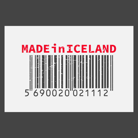 Vector realistic barcode  Made in Iceland on dark background.