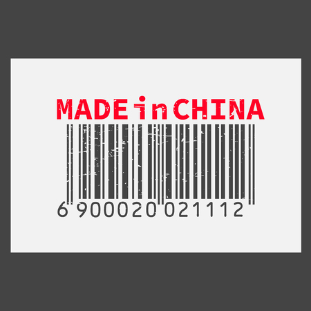 Vector realistic barcode  Made in China on dark background.