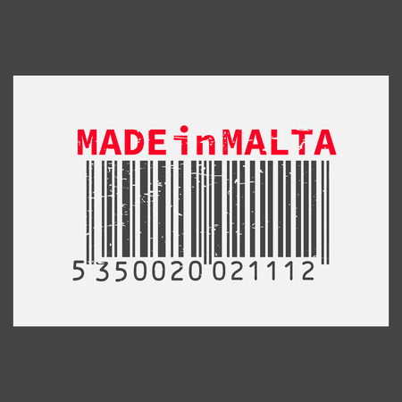 Vector realistic barcode  Made in Malta on dark background. 일러스트