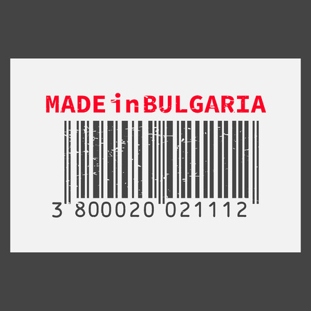 Vector realistic bar code Made in Bulgaria on dark background.