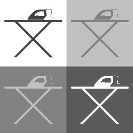 Vector icon iron and ironing board on white-grey-black color . Home Appliances