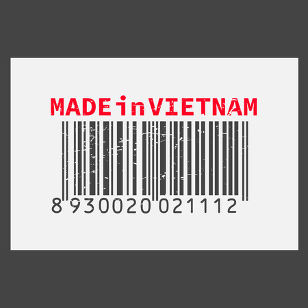 Vector realistic barcode  Made in Vietnam on dark background.