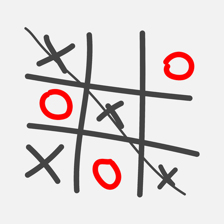 Vector image of a hand-drawn game of crosses and tic-tac-toe.