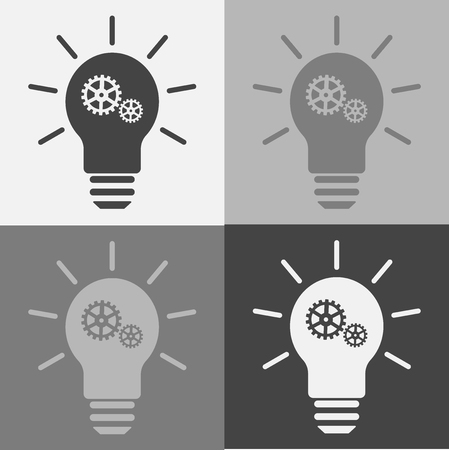 Icon set of light bulb with a gear Ilustracja