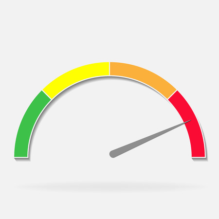 vector icon speedometer or tachometer with arrow. Red green on a gray background Illustration