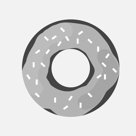 Vector icon of a donut covered with icing. A glazed donut.