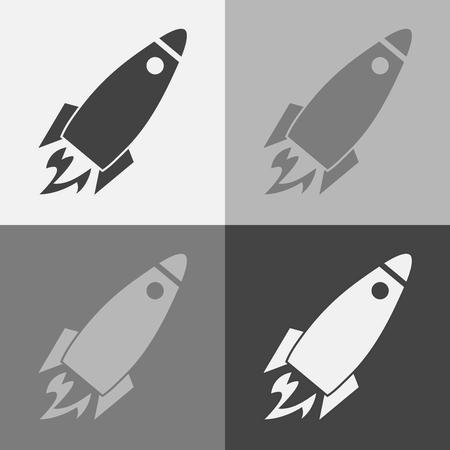 Vector icon set of flying rocket. Rocket Icon