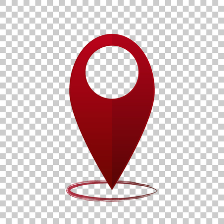 Vector image  positioning on the map. Mark icon. Red icon location drop pin on transparent  background
