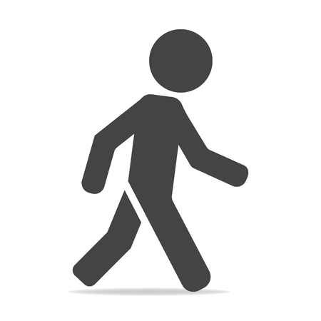 Vector icon of a walking pedestrian. Illustration of a walking man on a gray background Ilustração