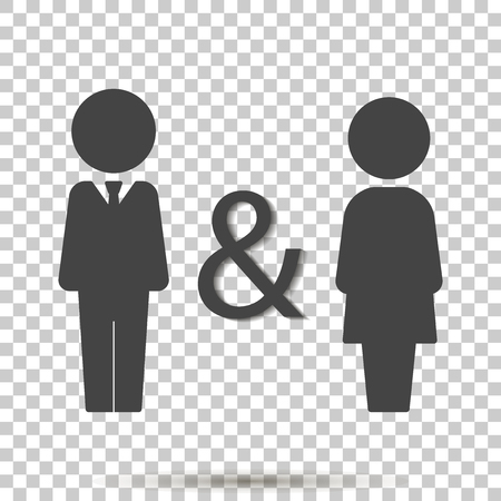 Vector icon of man and woman. Family symbol of proximity, support, compatibility. Joint life, life and work of men and women. Joint business.  イラスト・ベクター素材