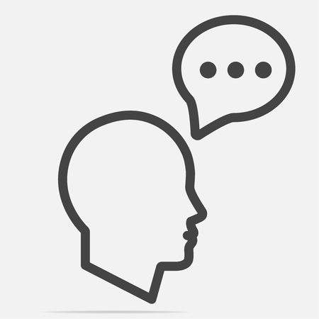 Head with speech bubble icon