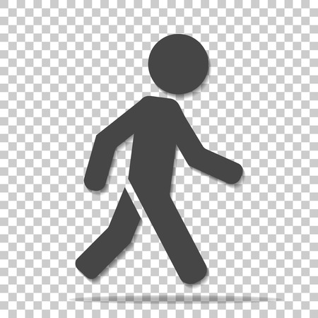 Vector icon of a walking pedestrian. Illustration of a walking man on a transparent  background
