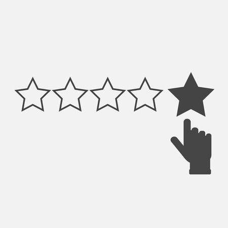 Vector icon of customer feedback. The client's hand clicks on the asterisk. Customer review