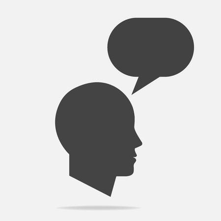 Mans head silhouette with chat bubble Illustration
