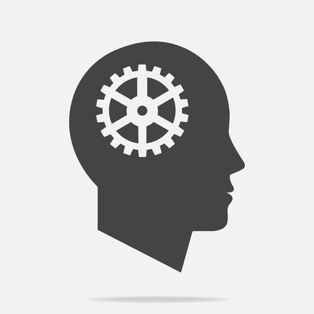 Head silhouette with a gear inside as a brain