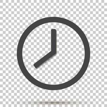 Clock icon on transparent background. Illustration