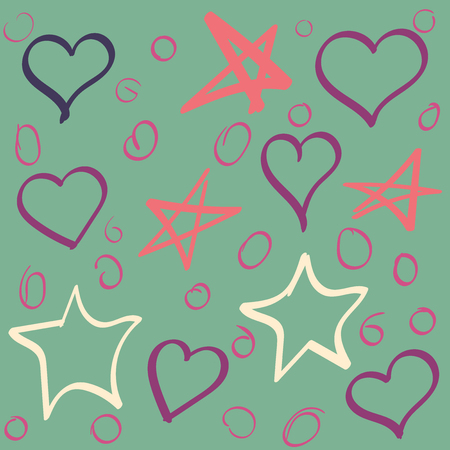 Vector set of stars and hearts hand drawn . Collection of sketches of multicolored hearts, circles and stars Ilustração