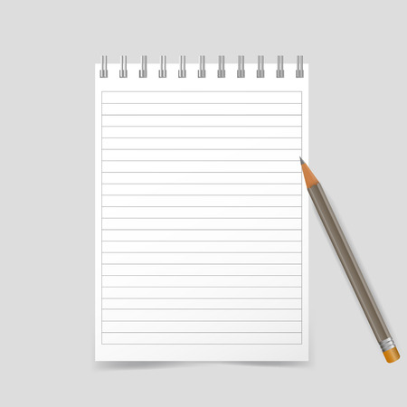 Vector illustration of a realistic school notebook with pencil