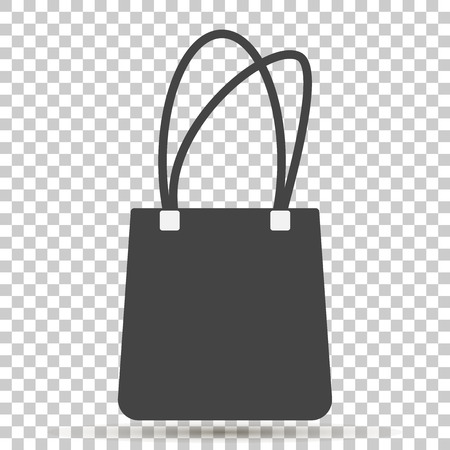 Handbag icon on transparent background. Bag flat icon Illustration
