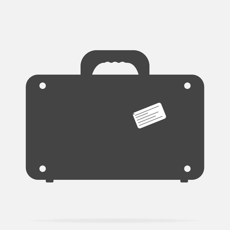 Vector suitcase icon on gray background
