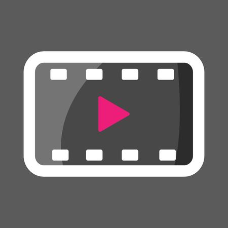 Video play colored sticker icon. Vector illustration play video. Layers grouped for easy editing illustration.  For your design.