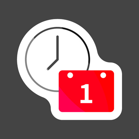 Vector clock icon and calendar. Time Management  colored sticker Icon.  Layers grouped for easy editing illustration. For your design.